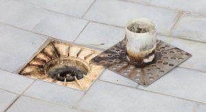 sewage backup into tub and shower